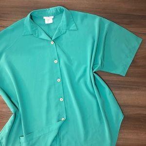 Vintage 80's Teal Oversized Shirt